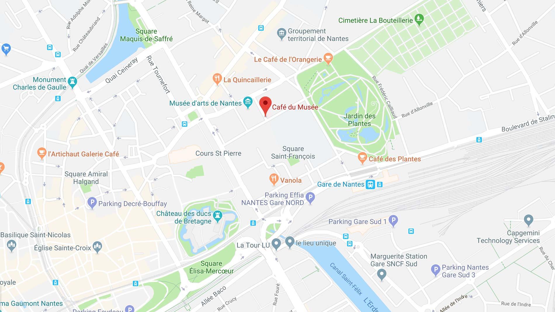 comment venir au Café du Musée, suivez le guide avec google map.
